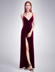 Spaghetti Strap V Neck Evening Dress With Slits And Open Back