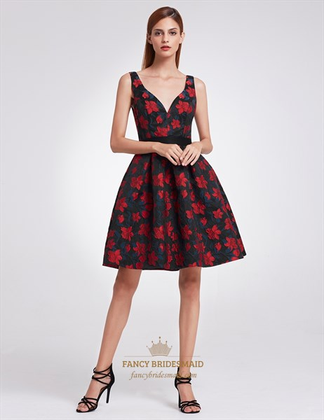 Black And Red Sleeveless Floral Print V Neck A Line Knee Length Dress