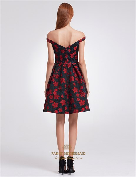 Charming Short Off The Shoulder A-Line Floral Print Homecoming Dress