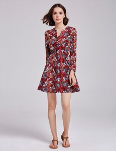Vintage A Line Short Floral Print Cocktail Dress With Long Sleeves
