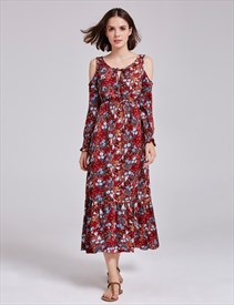 Tea Length Scoop Neckline A-Line Floral Print Dress With Long Sleeves
