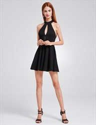 Simple Elegant A Line Sleeveless Little Black Dress With Keyhole Front