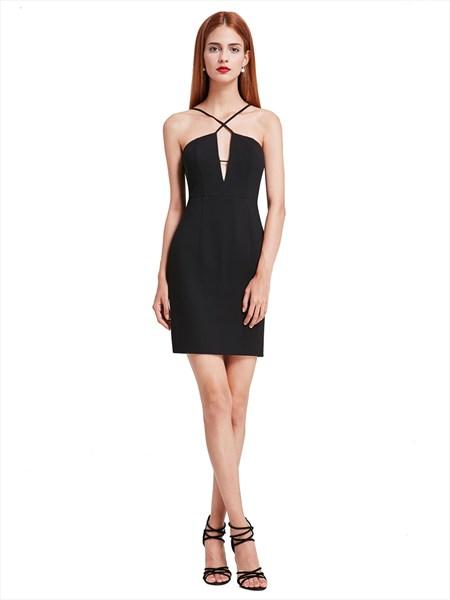 Elegant Black Spaghetti Strap Short Sheath Open Back Cocktail Dress