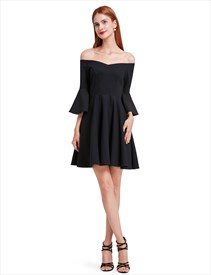 Black Off The Shoulder A-Line Short Homecoming Dress With Bell Sleeves