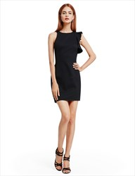 Asymmetrical Sleeveless Black Short Sheath Closed Back Cocktail Dress