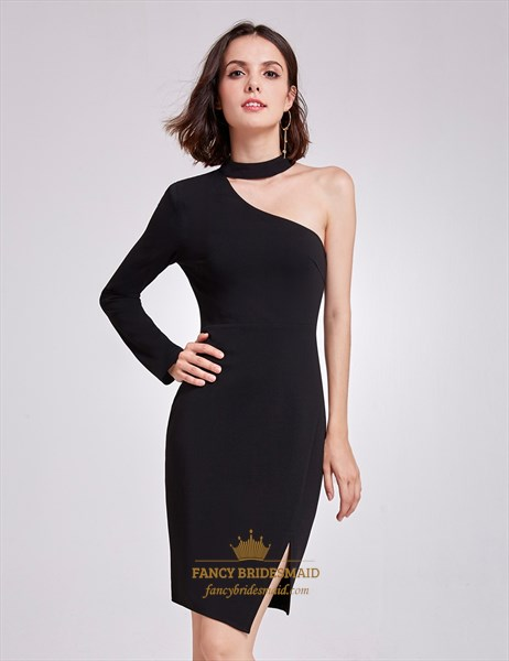 Short Black One Shoulder Asymmetric Bodycon Cocktail Dress With Sleeve