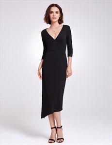 Black Long Sleeve V Neck Asymmetric Tea Length Prom Dress With Split