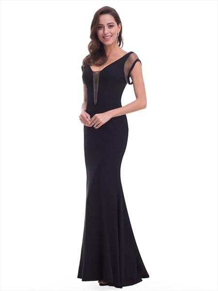 Black V Neck Cap Sleeve Floor Length Mermaid Prom Dress With Open Back