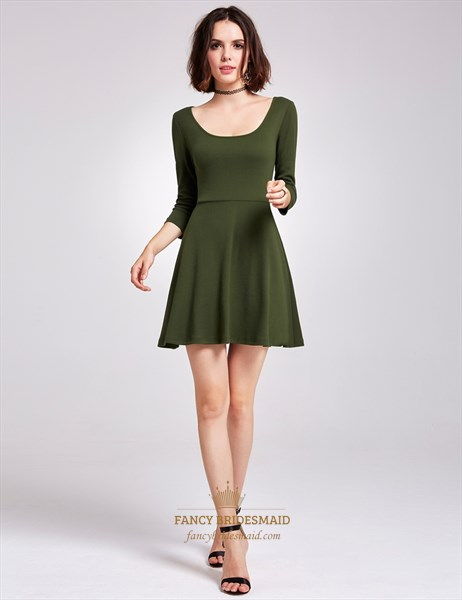 Short A-Line Scoop Neckline Keyhole Back Dress With 3/4 Length Sleeves