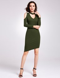 Asymmetric Knee Length Bodycon V-Neck Knitting Dress With Long Sleeves