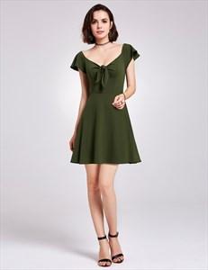Elegant Dark Green Cap Sleeve V Neck Short A Line Knitting Dress