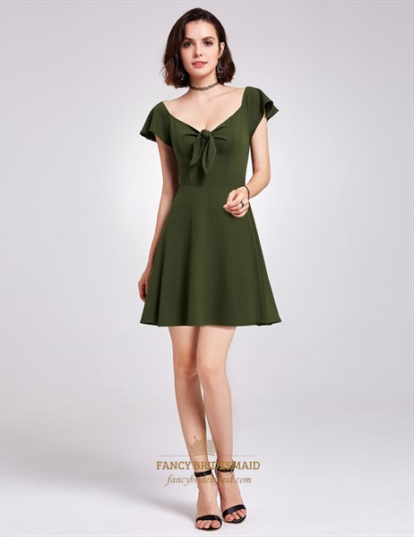 Elegant Dark Green Cap Sleeve V Neck Short A Line Knitting Dress