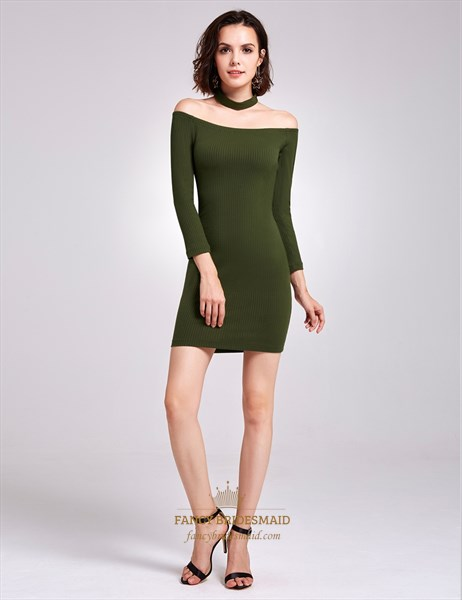 Simple Off The Shoulder Short Bodycon Knitting Dress With Long Sleeves