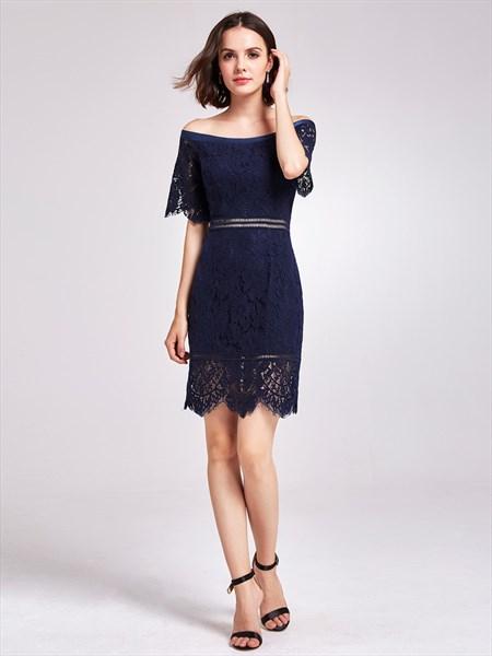 Navy Blue Off Shoulder Half Sleeve Short Sheath Lace Cocktail Dress