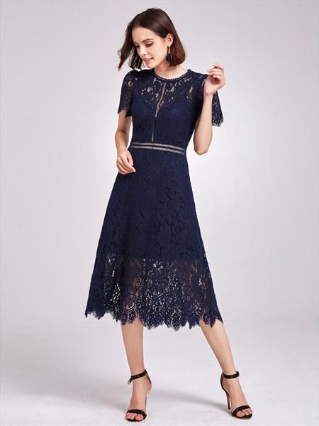 Elegant Navy Blue Short Sleeve A-Line Tea Length Lace Cocktail Dress