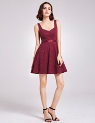 Charming A Line Burgundy Lace Sleeveless Short V Neck Homecoming Dress