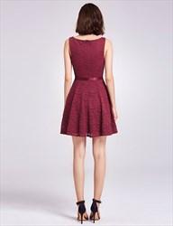 Charming A Line Burgundy Lace Sleeveless Short V Neck Homecoming Dress