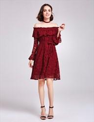 Burgundy Off The Shoulder Long Sleeve A-Line Short Lace Cocktail Dress