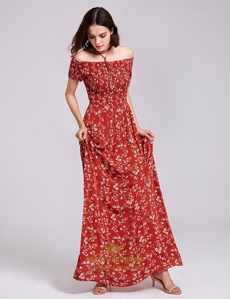 Off Shoulder A-Line Short Sleeve Floor Length Floral Print Maxi Dress