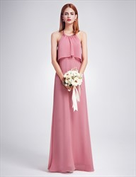 Elegant Halter A-Line Open Back Chiffon Floor Length Bridesmaid Dress