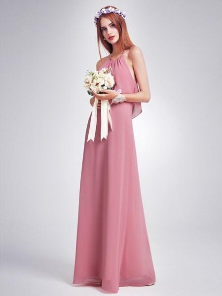 Elegant Halter A-Line Open Back Chiffon Floor Length Bridesmaid Dress