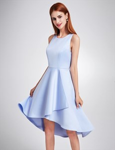 A-Line Simple Sleeveless Knee Length High Low Cocktail Dress