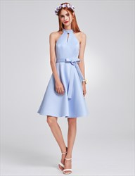 Cute Sleeveless Knee Length A-Line Homecoming Dress With Belt