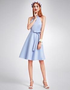 Cute Sleeveless Knee Length A-Line Homecoming Dress With Belt