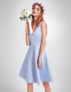 Deep V Neck A-Line Knee Length Sleeveless Homecoming Dress