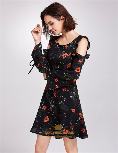 Vintage Knee Length Black A-Line Floral Print Dress With Long Sleeves