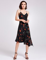Spaghetti Strap V Neck Asymmetrical Tea Length A-Line Floral Dress