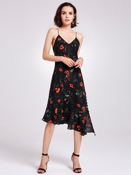 Spaghetti Strap V Neck Asymmetrical Tea Length A-Line Floral Dress