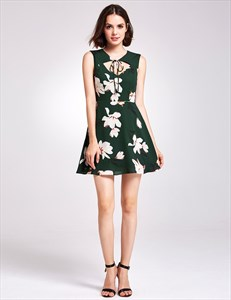 Dark Green Floral Sleeveless Knee Length A-Line Dress With Keyhole