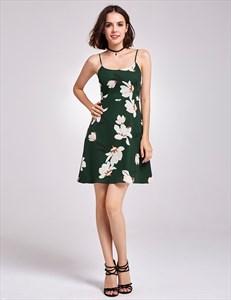 Lovely Dark Green Spaghetti Strap Knee Length A-Line Floral Dress