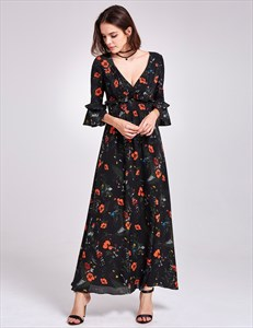 Deep V Neck Ankle Length A-Line Floral Print Dress With Bell Sleeves