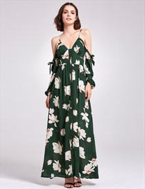Green Spaghetti Strap V Neck Ankle Length Floral Dress With Sleeves