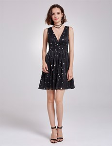 Sleeveless Deep V Neck A-Line Empire Waist Little Black Floral Dress