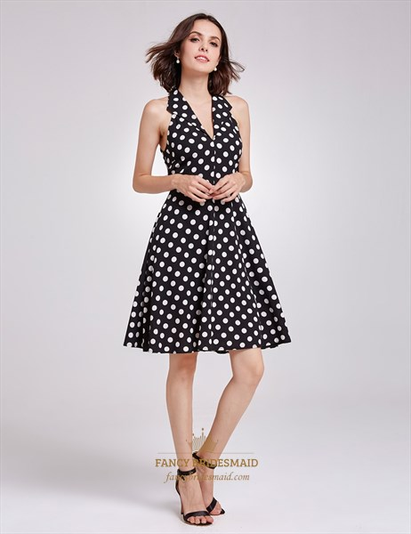Sleeveless Black And White Polka Dot Knee Length V-Neck A-Line Dress