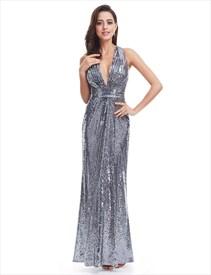 Plunge V Neck Sleeveless Floor Length Sequin Prom Gown