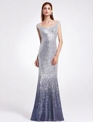 Elegant V Neck Floor Length Sequin Sheath Mermaid Prom Dress