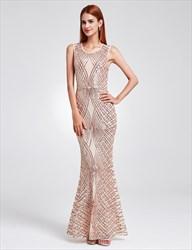 Elegant Sleeveless Sequin Embellished Mermaid Floor Length Prom Dress