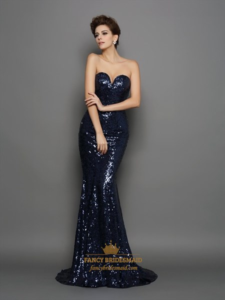Sparkly Strapless Sweetheart Floor Length Mermaid Sequin Formal Dress