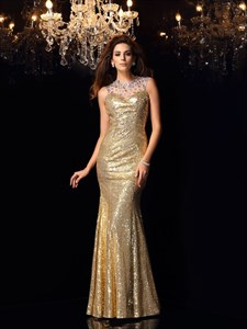 Champagne Illusion Beaded Neck Sleeveless Mermaid Sequin Prom Dress