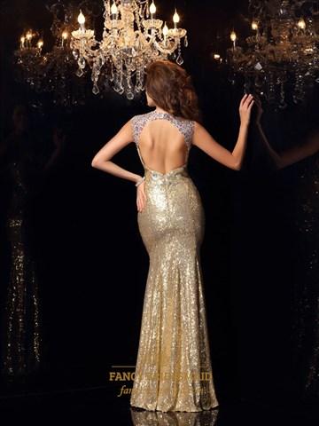 Champagne Illusion Beaded Neck Sleeveless Mermaid Sequin Prom Dress