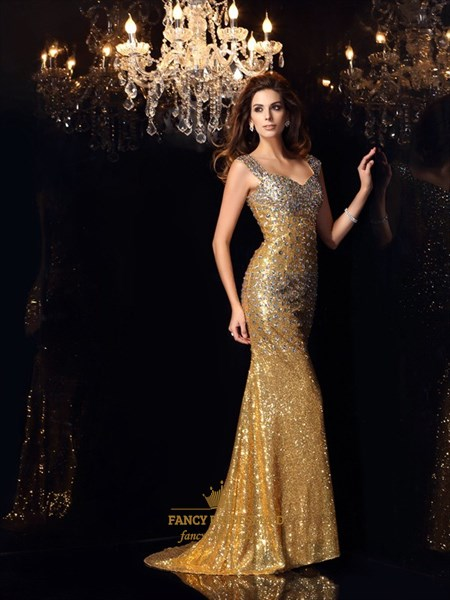 Floor Length Cap Sleeve Sweetheart Beaded Sequin Mermaid Prom Dress
