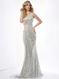 Illusion Silver One Shoulder Floor-Length Sequin Mermaid Evening Dress