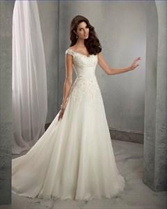 Elegant Cap Sleeve V Neck Ruched Waist A-Line Wedding Dress With Train