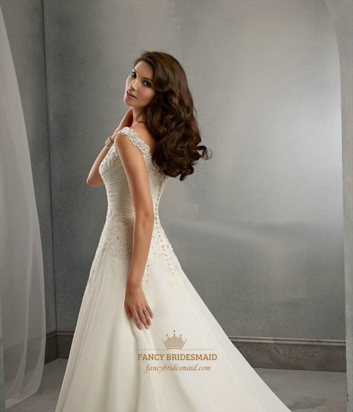 Elegant Cap Sleeve V Neck Ruched Waist A-Line Wedding Dress With Train