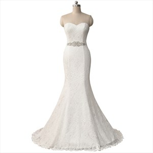 Strapless Sweetheart Lace Floor Length Mermaid Wedding Dress With Belt