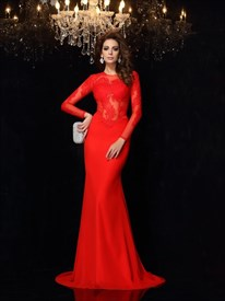 Red Illusion Lace Bodice Long Sleeve Mermaid Floor Length Prom Dress